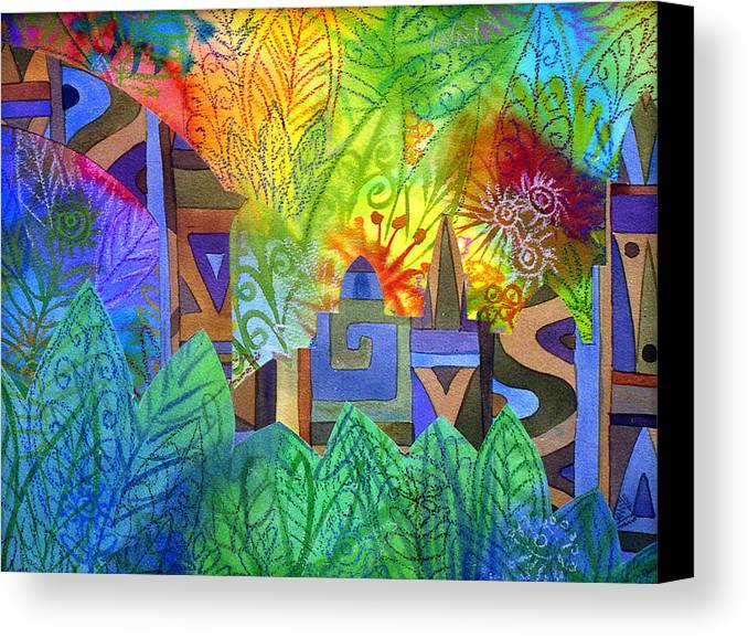 Jungle Mysterious Tropical Lost City Caribbean Bright Colours Canvas Print featuring the painting Hidden City by Jennifer Baird