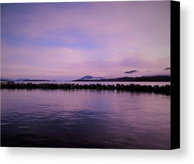 Purple Canvas Print featuring the photograph High Tide by Karen Horn