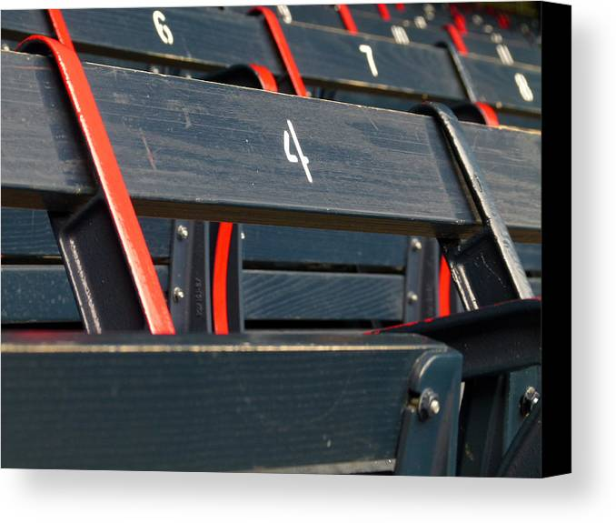 Red Sox Canvas Print featuring the photograph Historical Wood Seating At Boston Fenway Park by Juergen Roth