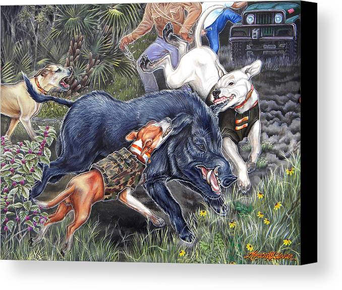 Hog Canvas Print featuring the painting Hog Hammock Earrings by Monica Turner