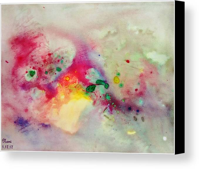 Colors Canvas Print featuring the painting Holi-colorbubbles Abstract by Namrata Patel