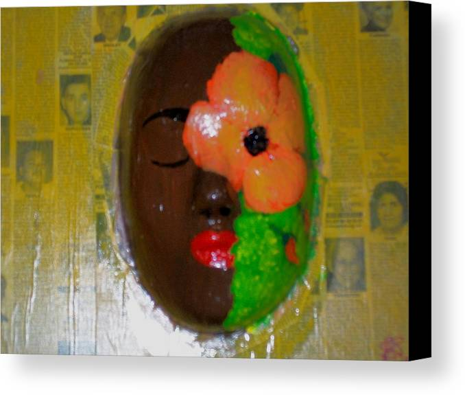 Mask Canvas Print featuring the painting Homage Three by Laurette Escobar