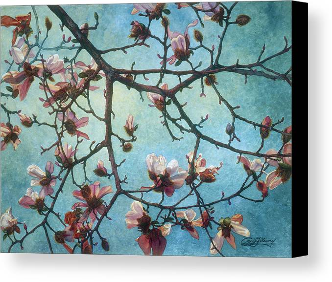 Blossoms Canvas Print featuring the painting Homage To Vincent by Craig Gallaway