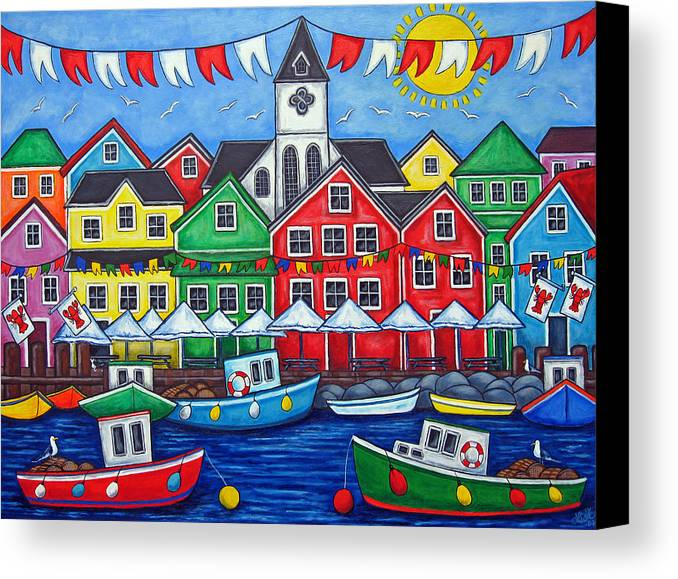 Boats Canada Colorful Docks Festival Fishing Flags Green Harbor Harbour Canvas Print featuring the painting Hometown Festival by Lisa Lorenz