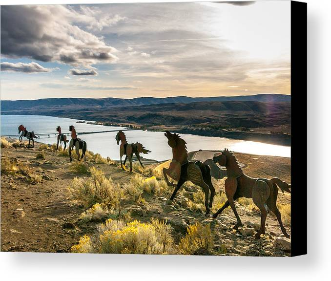 Wild Horses Canvas Print featuring the photograph Horse Sculpture 4 by Mike Penney