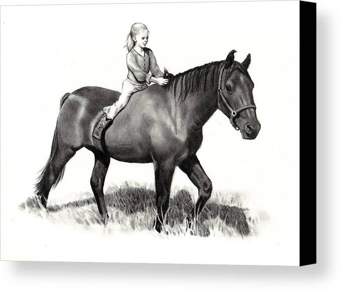 Horse Canvas Print featuring the drawing Horseback Riding by Joyce Geleynse