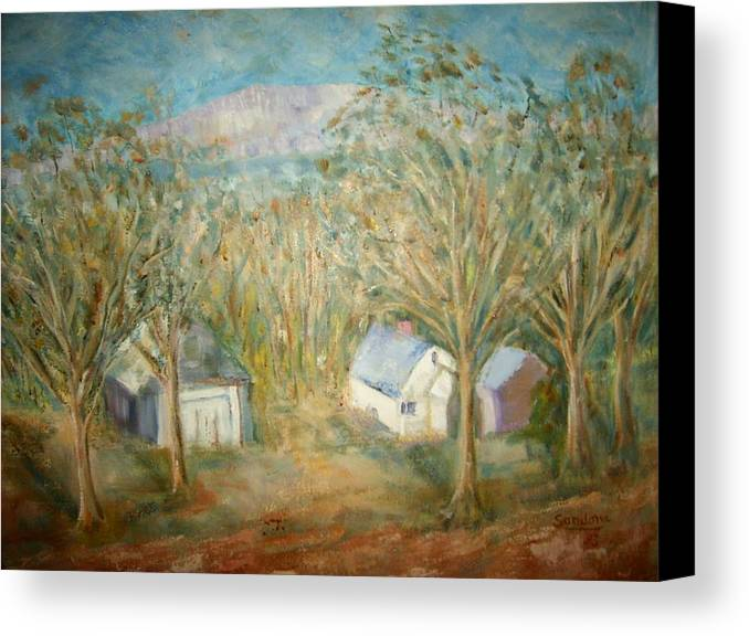 Landscape Mountain Trees Buildings Canvas Print featuring the painting House With Overlooking Mountain by Joseph Sandora Jr