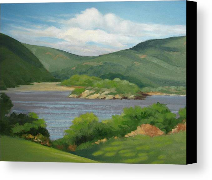 Landscape Canvas Print featuring the painting Hudson River by Robert Rohrich