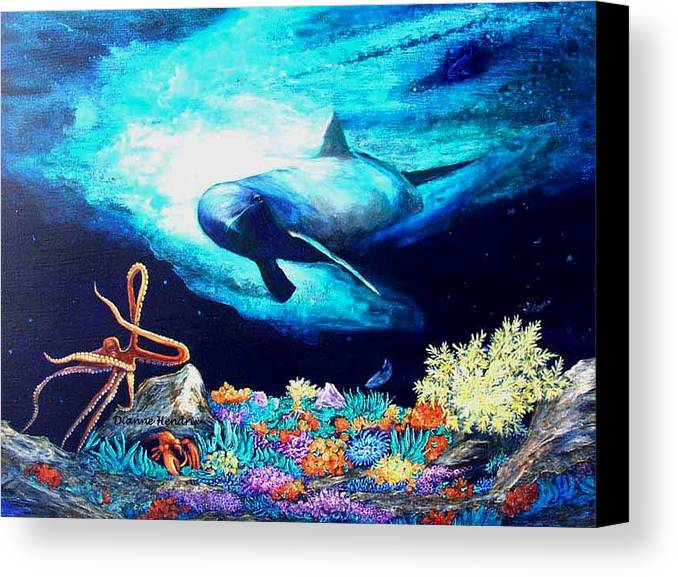 Whale Canvas Print featuring the painting Imposing Gaze by Dianne Roberson