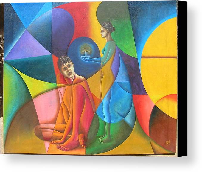 Man Canvas Print featuring the painting In Search Of Life by Mak Art