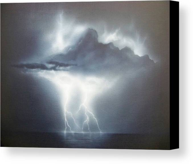 Seascape Canvas Print featuring the painting Is The Sky The Limit by Brett McGrath