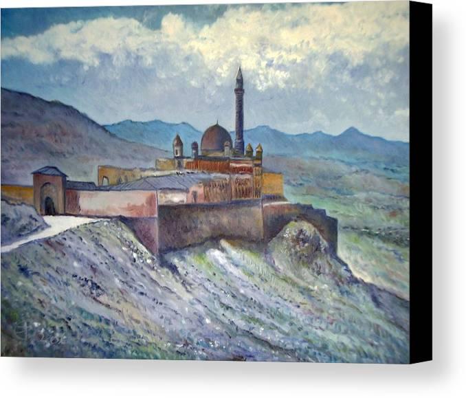 Turkey Canvas Print featuring the painting Ishak Pasa Palace Dogubayarzit Anatolia Turkey 2006 by Enver Larney