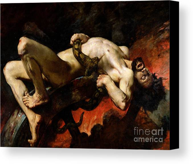 Man Canvas Print featuring the painting Ixion Thrown Into Hades by Jules Elie Delaunay