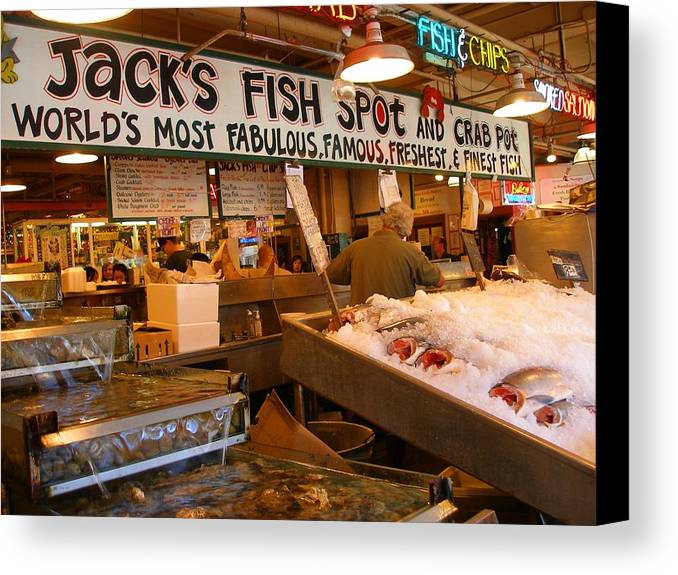 Art Canvas Print featuring the photograph Jacks Fish Spot And Crab Pot-seattle Pike Place Market by Candace Garcia