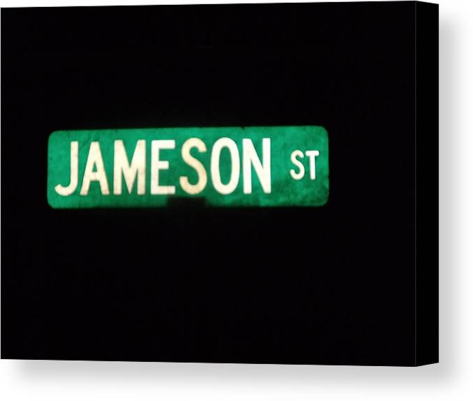 Street Sign Canvas Print featuring the photograph Jameson Street by Anna Villarreal Garbis