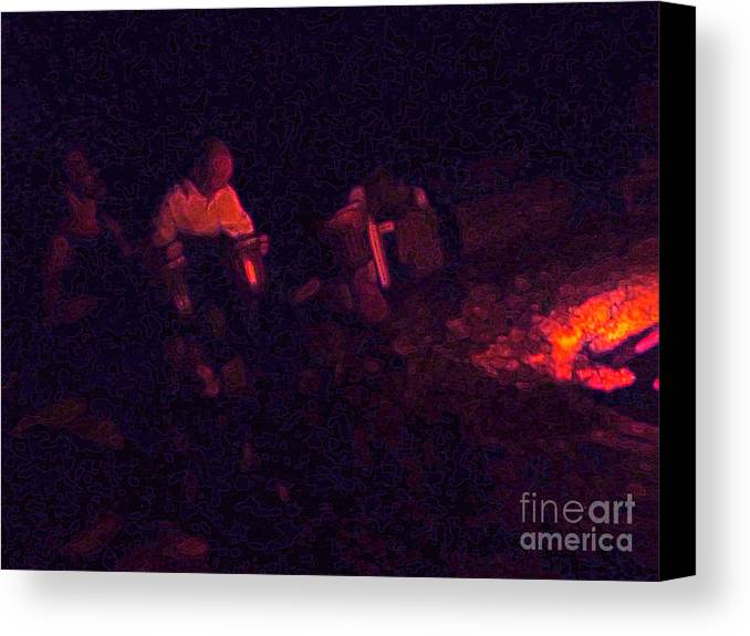 Night Canvas Print featuring the photograph Jamming By The Fire by JoAnn SkyWatcher