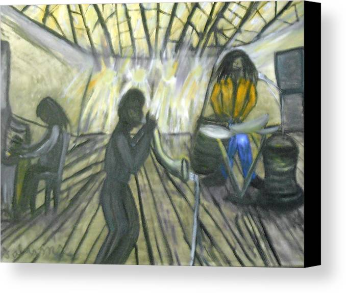 Musical Canvas Print featuring the painting Jazz Trio by BJ Abrams
