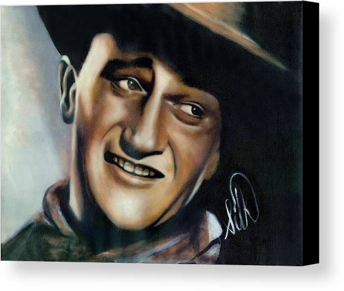 Portrait Canvas Print featuring the painting John Wayne by Elizabeth Silk