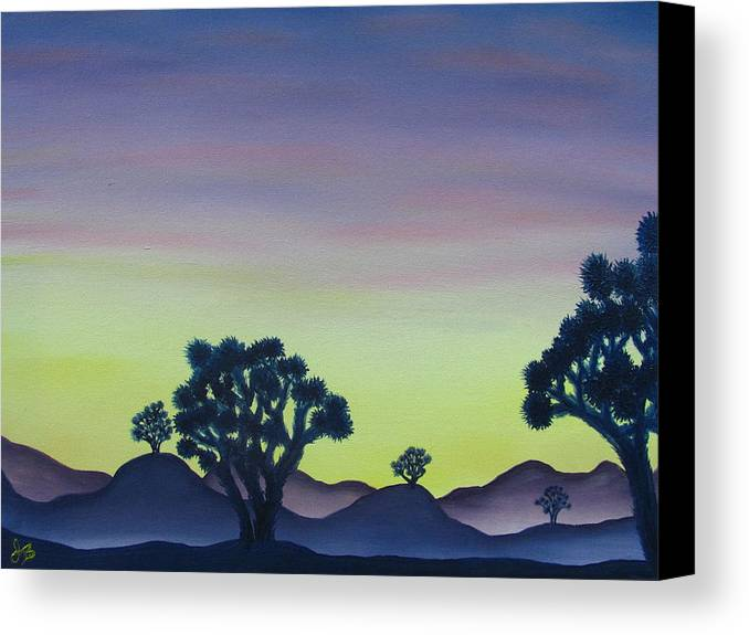 Joshua Tree Desert Landscape Canvas Prints California Desert Sunset Canvas Prints Desert Oil Painting Prints Canvas Print featuring the painting Joshua Tree Sunset by Joshua Bales
