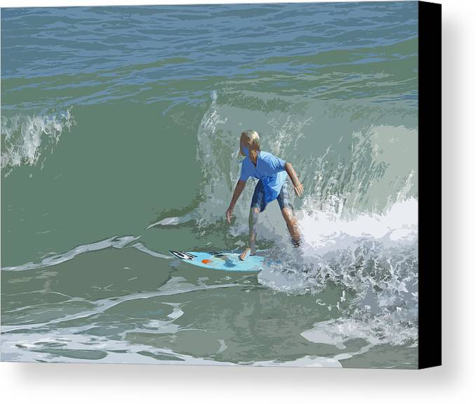 Surf Canvas Print featuring the painting Joy Of Surfing - Four by Allan Hughes