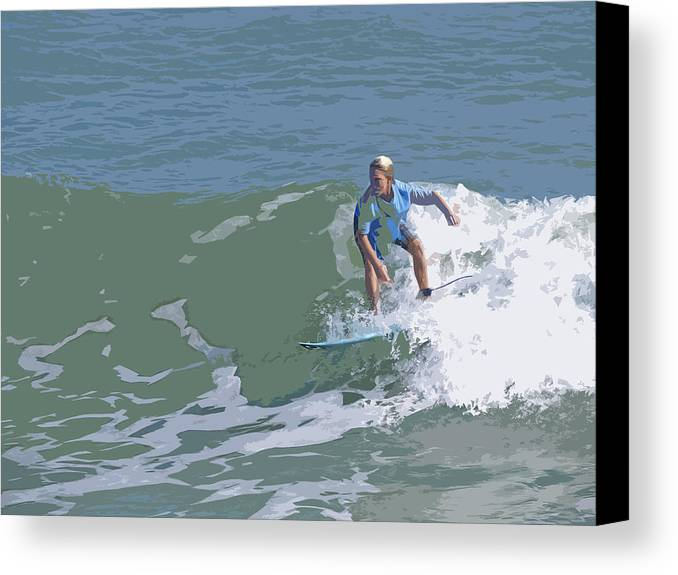 Surf Canvas Print featuring the painting Joy Of Surfing - Three by Allan Hughes