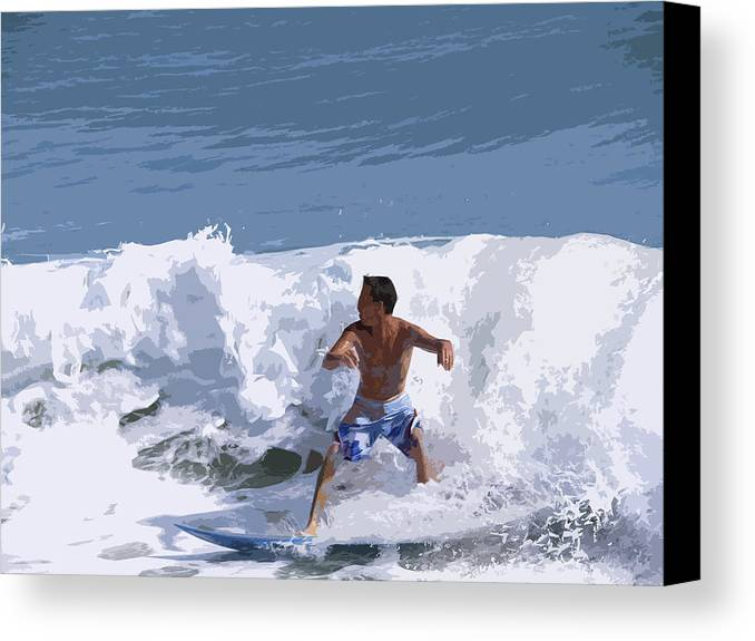 Surf Canvas Print featuring the painting Joy Of Surfing - Two by Allan Hughes