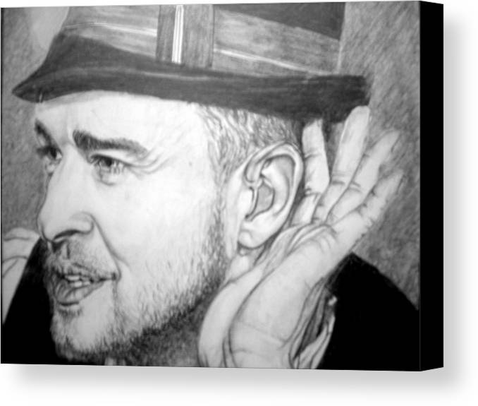 Celeb Portraits Canvas Print featuring the drawing Justin Timberlake by Sean Leonard