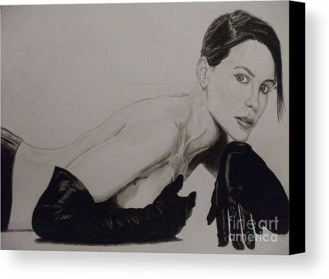 Kate Canvas Print featuring the drawing Kate Beckinsale by John Prestipino