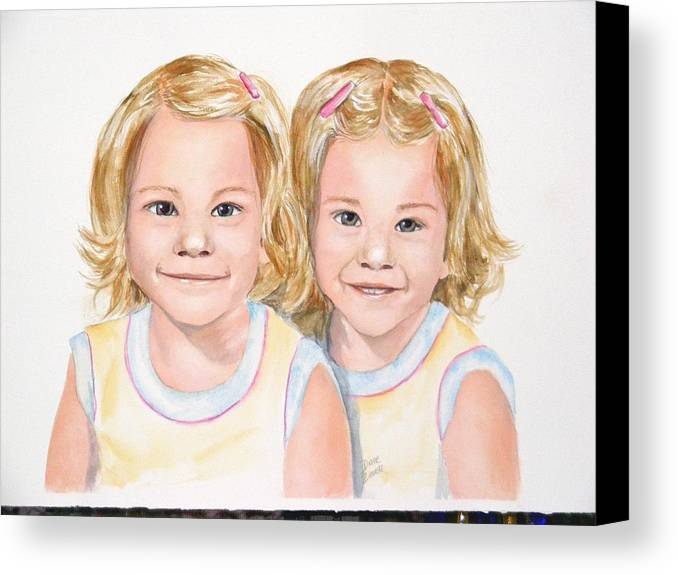 Commissions Canvas Print featuring the painting Katy And Kym by Diane Ziemski