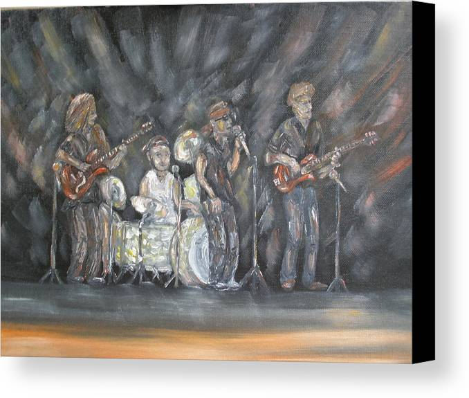 Rock Band Canvas Print featuring the painting Keith Kyle Shawn And Chris by Carrie Mayotte