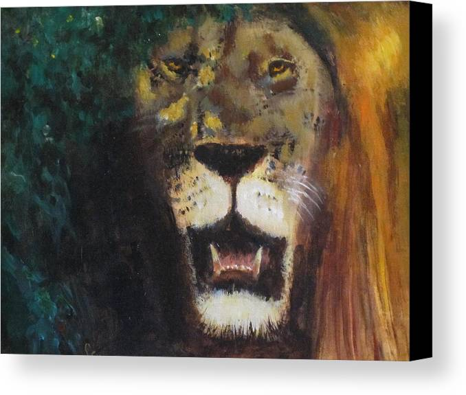 Lion Canvas Print featuring the painting King Of The Mane by Les Smith