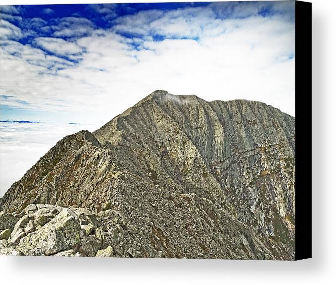 Knife Edge Canvas Print featuring the photograph Knife Edge On Mount Katahdin Baxter State Park Maine by Brendan Reals