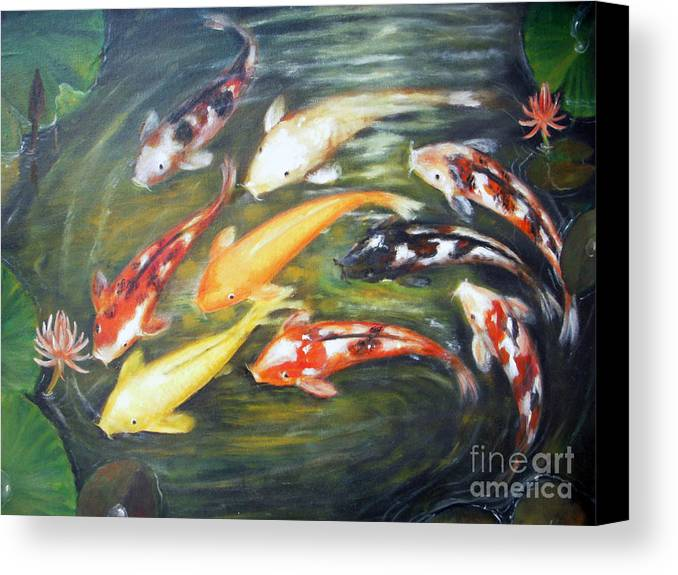 Koi Canvas Print featuring the painting Koi 1 by Edy Sutowo