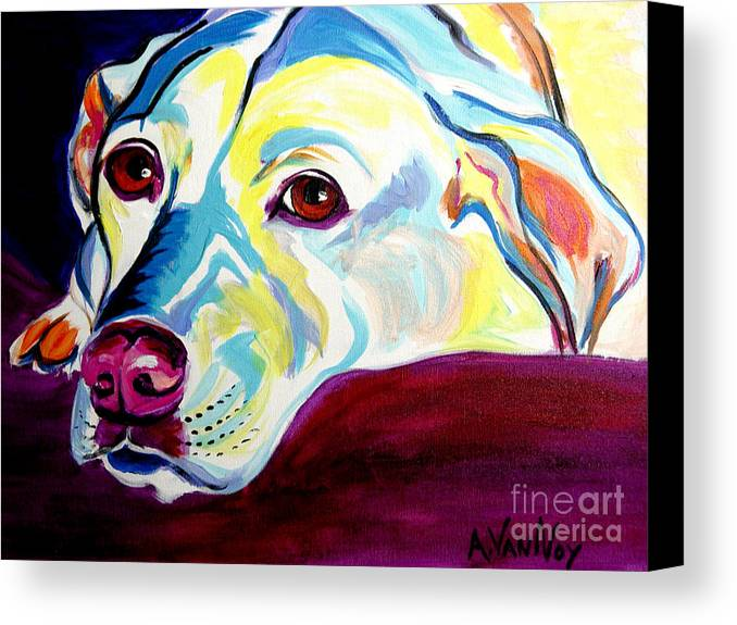 Dog Canvas Print featuring the painting Lab - Luna by Alicia VanNoy Call
