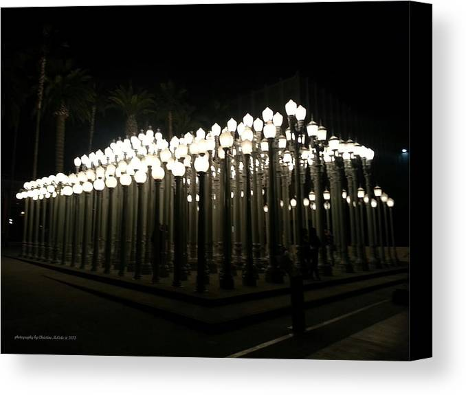 Lacma Canvas Print featuring the photograph Lacma Lights Haze 1 by Christine McCole