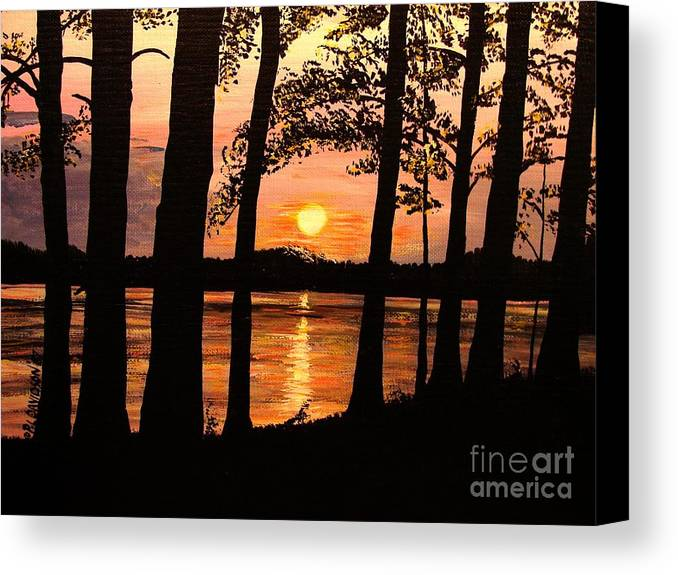 Sunset Canvas Print featuring the painting Lake Sunset by Patricia L Davidson