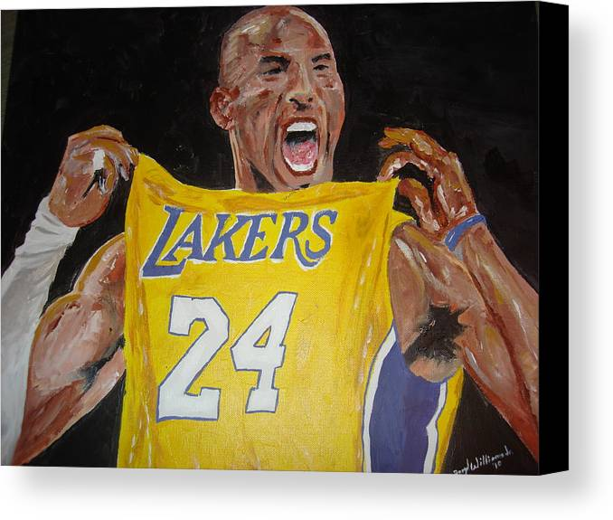 Kobe Bryant Canvas Print featuring the painting Lakers 24 by Daryl Williams Jr