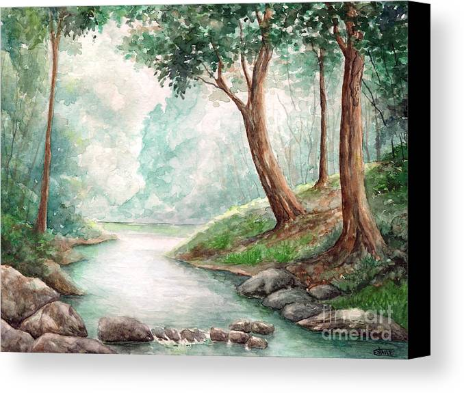 Landscape Canvas Print featuring the painting Landscape With River by Enaile D Siffert
