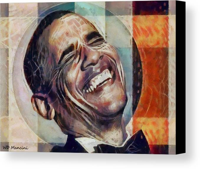 Laughing Canvas Print featuring the painting Laughing President Obama V2 by WD Mancini
