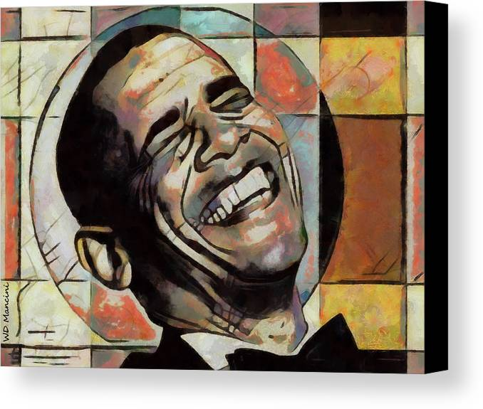 Laughing Canvas Print featuring the painting Laughing President Obama by WD Mancini
