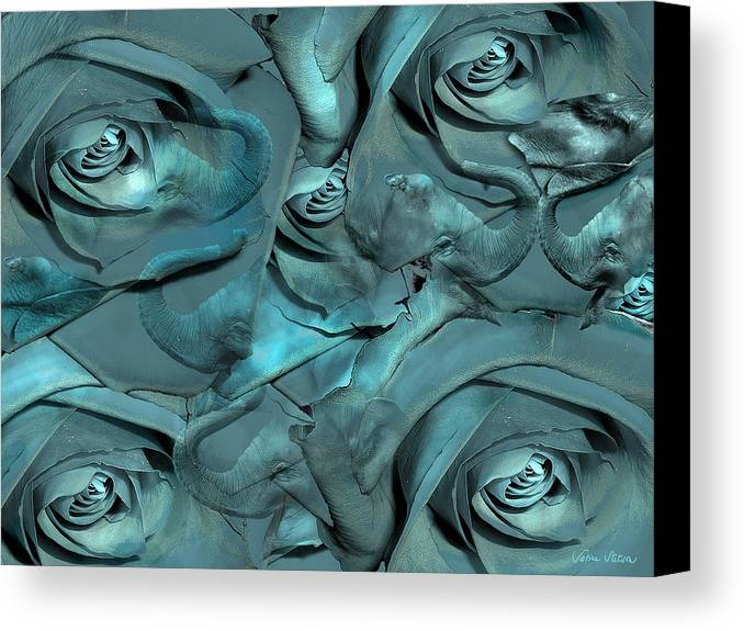Roses Canvas Print featuring the digital art Layers by Sabine Stetson