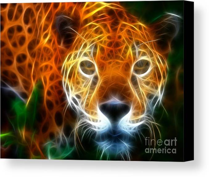 Leopard Canvas Print featuring the mixed media Leopard Watching At His Prey by Pamela Johnson