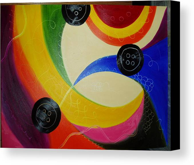 Abstract Canvas Print featuring the painting Les Boutons Noirs 2 by Dominique Boutaud