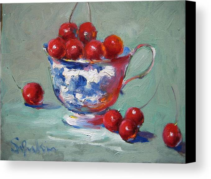 Stilllife Canvas Print featuring the painting Life Is Just A Cup Of Cherry by Susan Jenkins