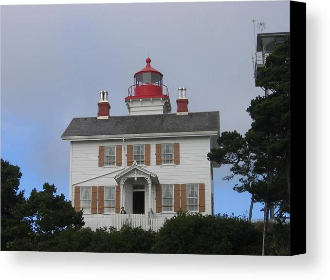 Canvas Print featuring the digital art Light House On The Oregon Coast by Barb Morton