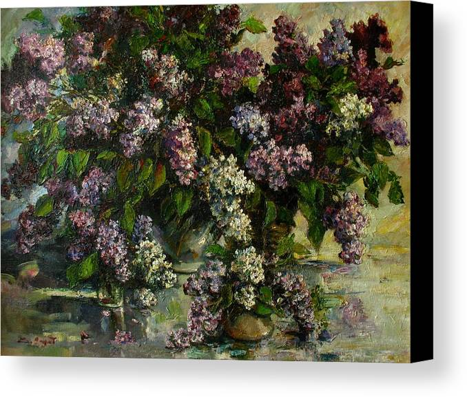 Armenian Canvas Print featuring the painting Lilacs by Tigran Ghulyan