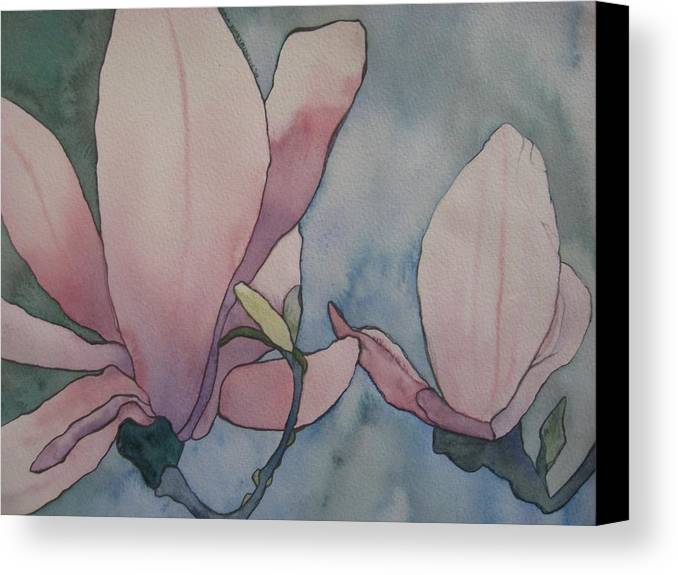 Lilies Canvas Print featuring the painting Lilies by Theodora Dimitrijevic
