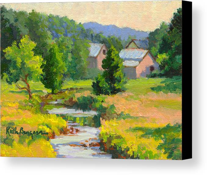 Landscape Canvas Print featuring the painting Little Creek Farm by Keith Burgess