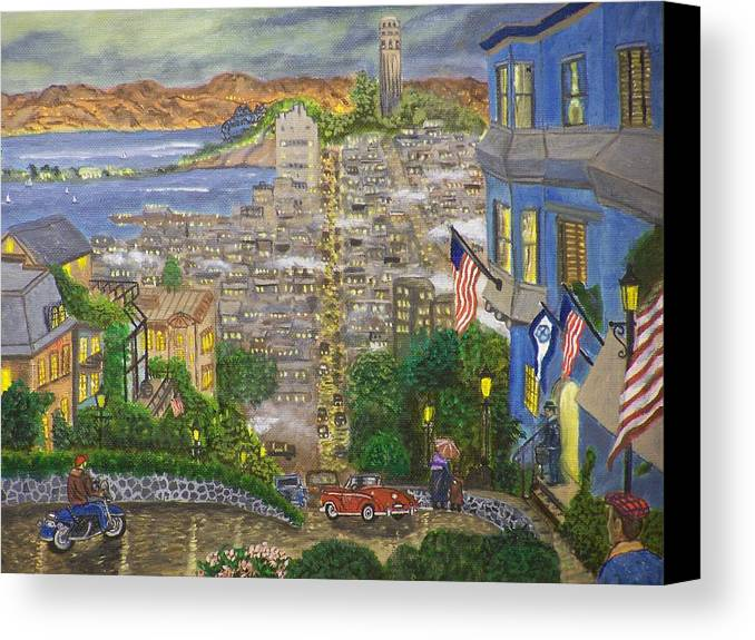 Landscape Canvas Print featuring the painting Lombard Street by Charles Vaughn