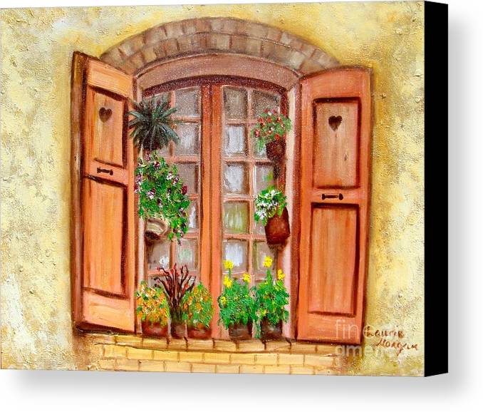 Windows Canvas Print featuring the painting Love Nest by Laurie Morgan